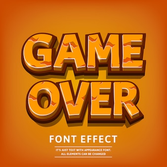Effetto del testo titolo del logo del gioco di carattere 3d con texture