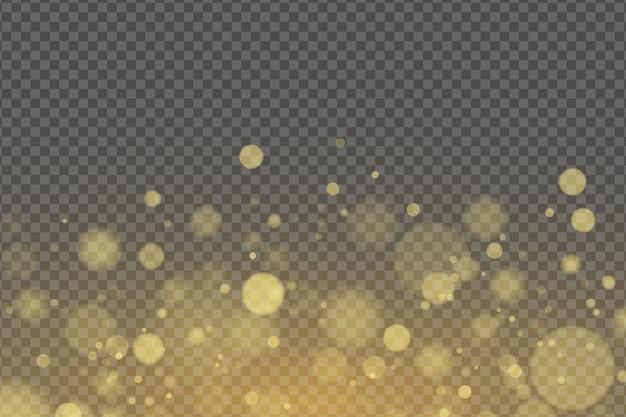 Effetto della luce del bagliore dorato bokeh isolato su sfondo trasparente.