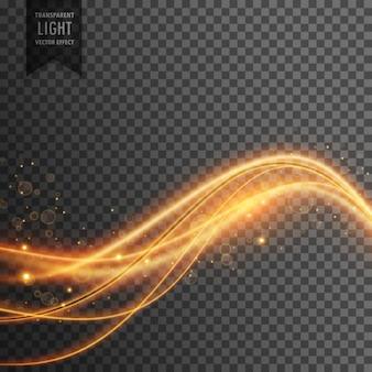 Effetto della luce di onde di luce dorata con le scintille