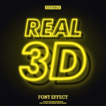 Effetto di carattere al neon incandescente giallo realistico 3d