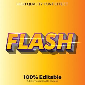 Effetto di carattere modificabile in stile moderno testo flash 3d