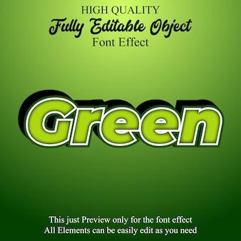 Effetto di carattere modificabile in stile testo verde grassetto 3d
