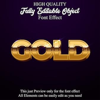 Effetto di carattere modificabile moderno stile testo oro 3d