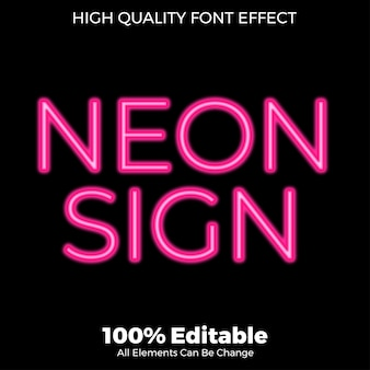 Effetto di carattere modificabile stile neon segno di testo