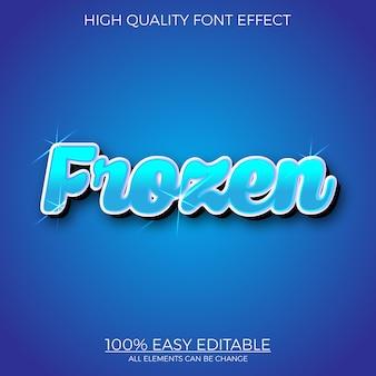 Effetto di carattere modificabile stile testo congelato blu