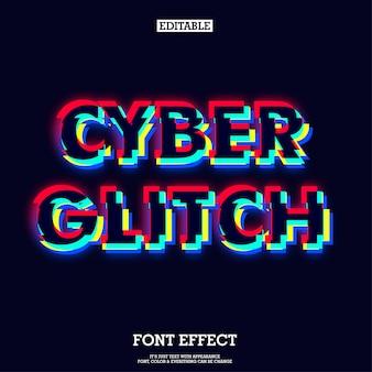 Effetto di carattere tipografico scuro moderno cyber glitch