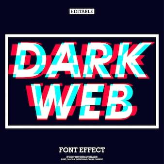 Effetto di carattere web scuro con segno di glitch futuristico