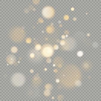 Effetto di cerchi bokeh isolato su sfondo trasparente. natale incandescente caldo elemento glitter arancione che può essere utilizzato.