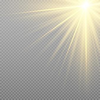 Effetto di detonazione giallo. raggi di sole con travi isolati su sfondo trasparente