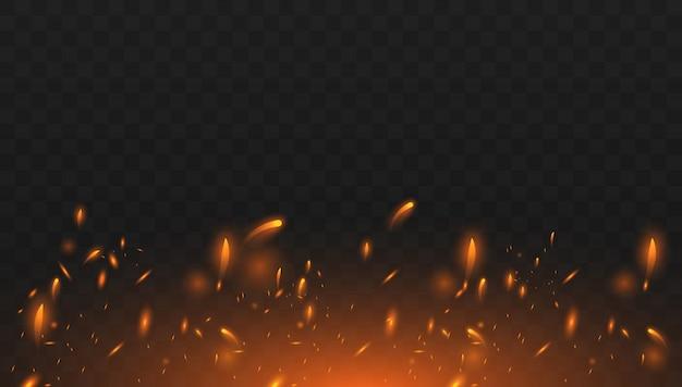 Effetto di fuoco isolato realistico per la decorazione