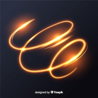 Effetto di linee a spirale splendente d'oro splendente