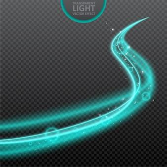 Effetto di luce blu sfondo trasparente con scintillii realistici.