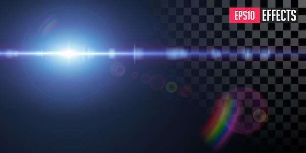Effetto di luce chiarore speciale lente trasparente stella blu di fantascienza di vettore.
