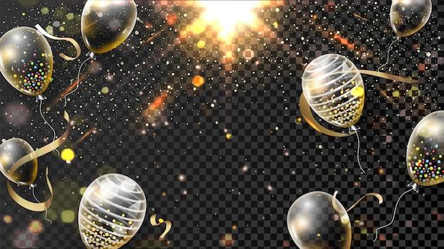 Effetto di luce dorata incandescente nero sfondo trasparente decorato con palloncini.