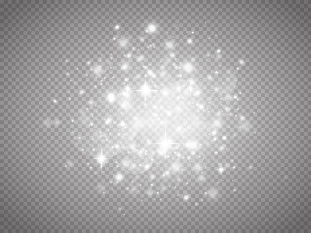Effetto di luce incandescente con molte particelle di glitter isolate