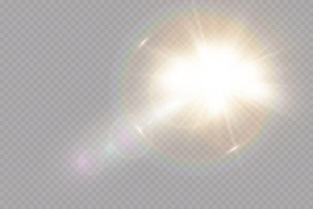 Effetto di luce speciale del chiarore della lente di luce solare trasparente.