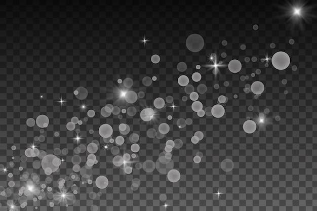 Effetto di luci incandescenti, bagliori, esplosioni e stelle. effetto speciale isolato su sfondo trasparente. riflessi di lenti, stelle e scintille con la collezione bokeh.