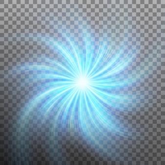 Effetto di stella con luce flare con trasparenza. sfondo trasparente solo in