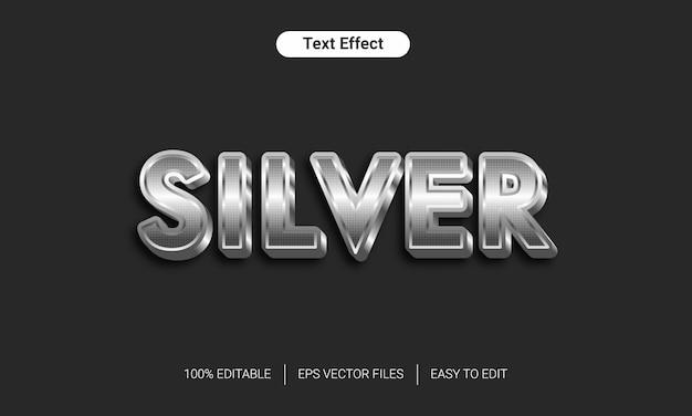 Effetto di stile del testo 3d in metallo argento