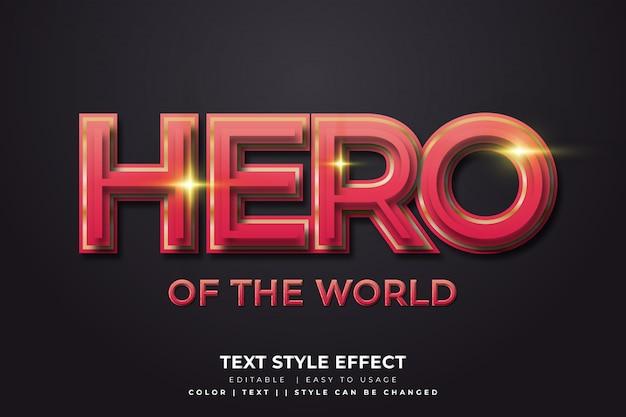 Effetto di stile del testo dell'eroe 3d con il gradiente rosso