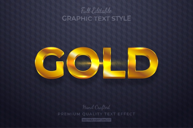 Effetto di stile di testo 3d modificabile in oro lucido premium