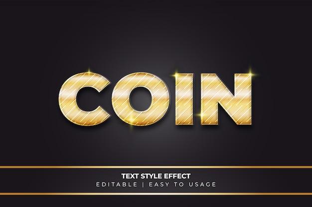 Effetto di stile testo moneta d'oro con texture e sfumatura gialla