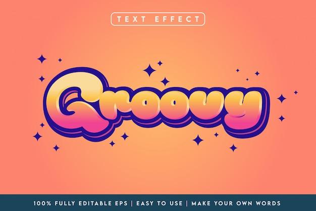 Effetto di testo 3d di stile groovy in combinazione di colori arancione