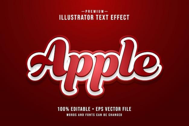 Effetto di testo 3d modificabile di apple o stile grafico con sfumatura rossa