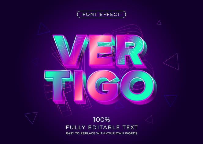 Effetto di testo 3d vibrante moderno. stile del carattere modificabile