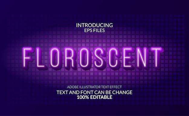 Effetto di testo al neon bagliore moderno fluorescente. testo e carattere modificabili