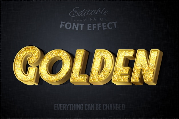 Effetto di testo dorato glitch, stile alfabeto oro lucido