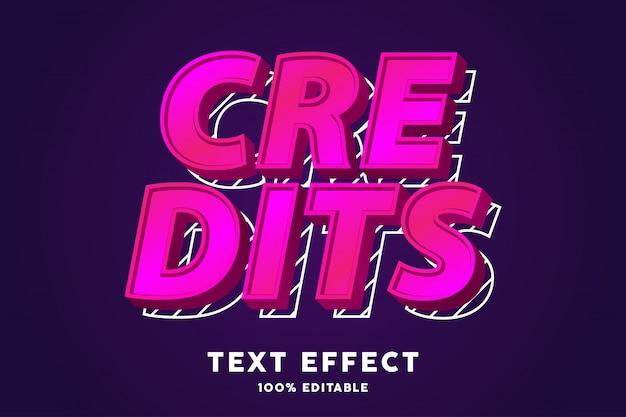 Effetto di testo moderno pop art fresco rosa