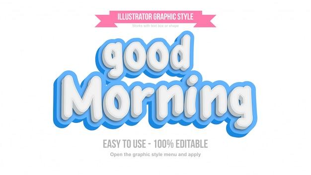 Effetto di testo modificabile 3d carino scritto a mano bianco e blu