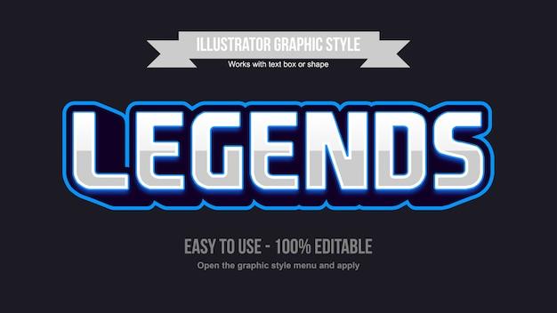 Effetto di testo modificabile con logo di gioco moderno blu argento