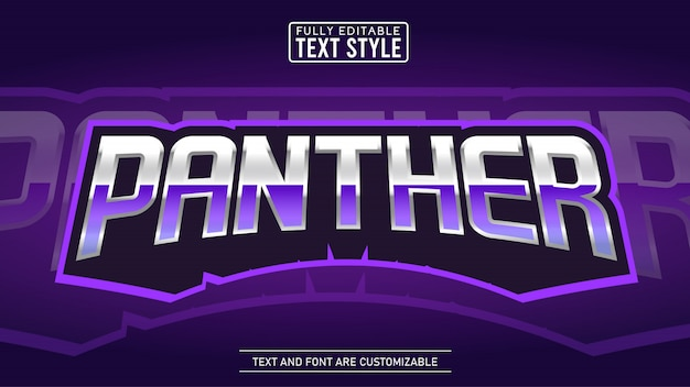 Effetto di testo modificabile con logo e-sport purple panther gaming