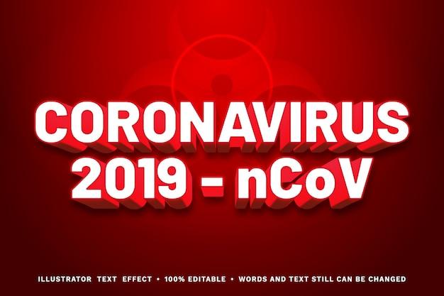 Effetto di testo modificabile del virus corona rossa 3d