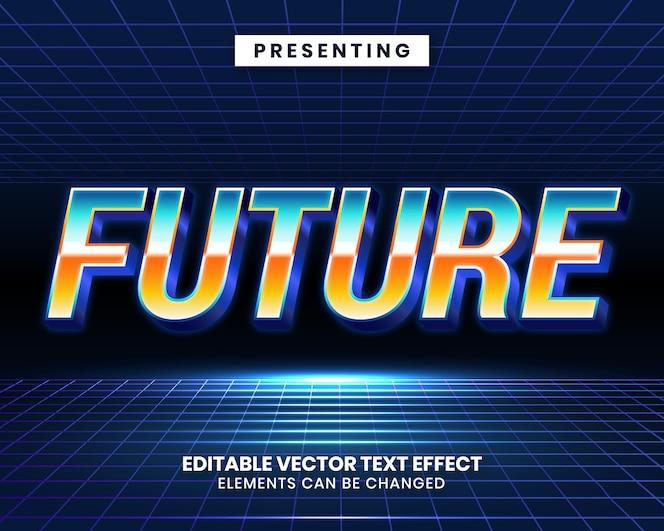 Effetto di testo modificabile futuristico di retrowave