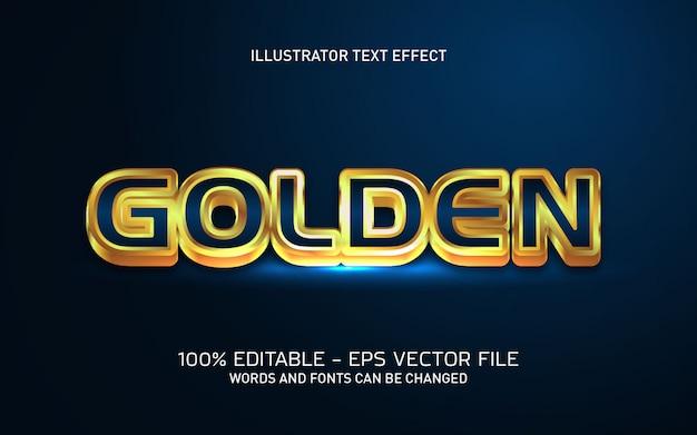 Effetto di testo modificabile, illustrazioni dorate in stile 3d