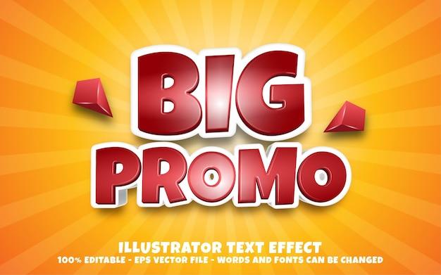 Effetto di testo modificabile, illustrazioni in stile big promo