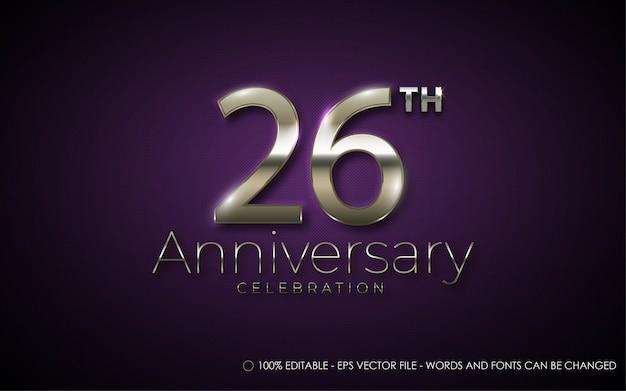 Effetto di testo modificabile, illustrazioni in stile celebrazione del 26 ° anniversario