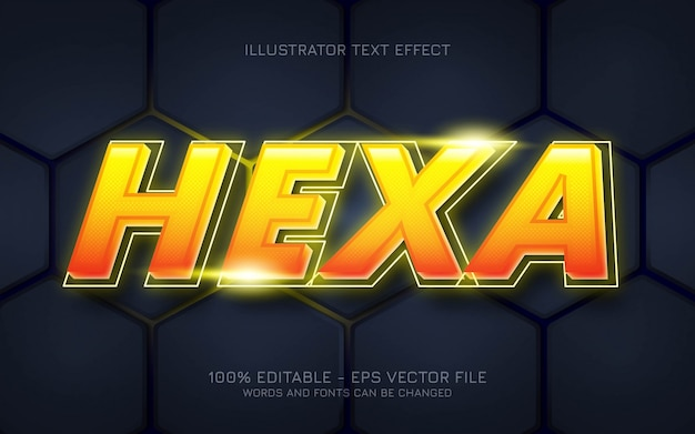 Effetto di testo modificabile, illustrazioni in stile hexa