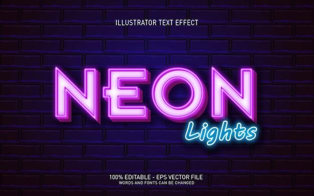 Effetto di testo modificabile, illustrazioni in stile neon light
