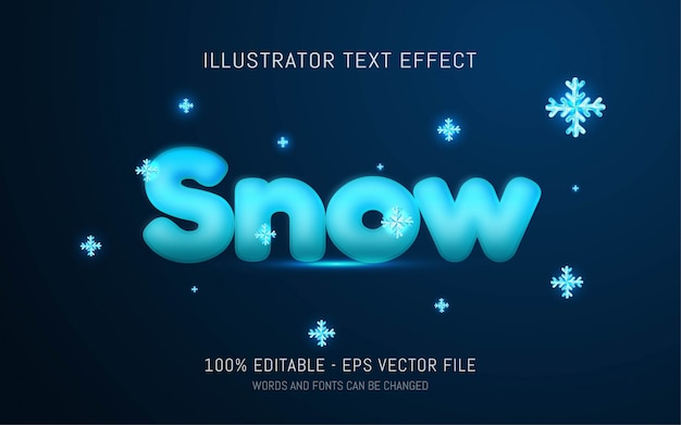 Effetto di testo modificabile, illustrazioni in stile neve