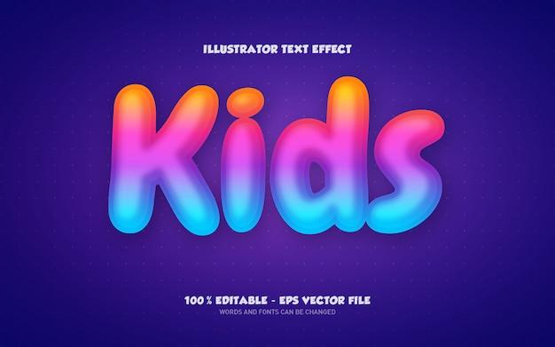 Effetto di testo modificabile, illustrazioni in stile per bambini