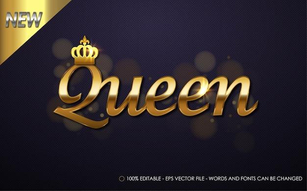 Effetto di testo modificabile, illustrazioni in stile queen