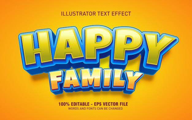 Effetto di testo modificabile, illustrazioni in stile titolo di famiglia felice