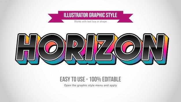 Effetto di testo modificabile in grassetto 3d nero con texture colorate