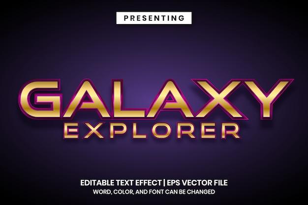Effetto di testo modificabile in stile gioco spaziale galaxy explorer