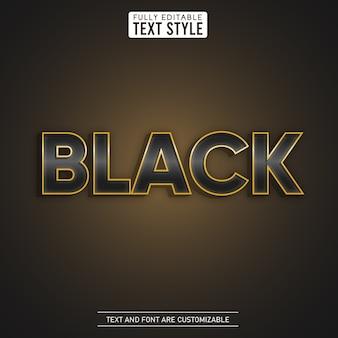 Effetto di testo modificabile metallico oro brillante di lusso nero