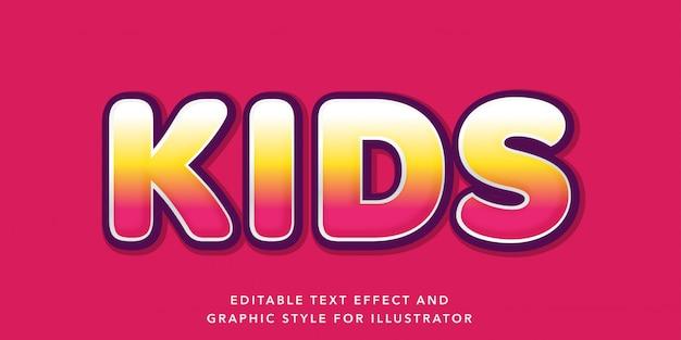 Effetto di testo modificabile per bambini stile di testo colorato
